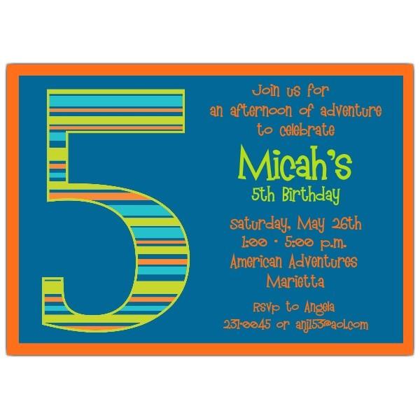 birthday boy stripes 5th birthday invitations p 602 57 1047