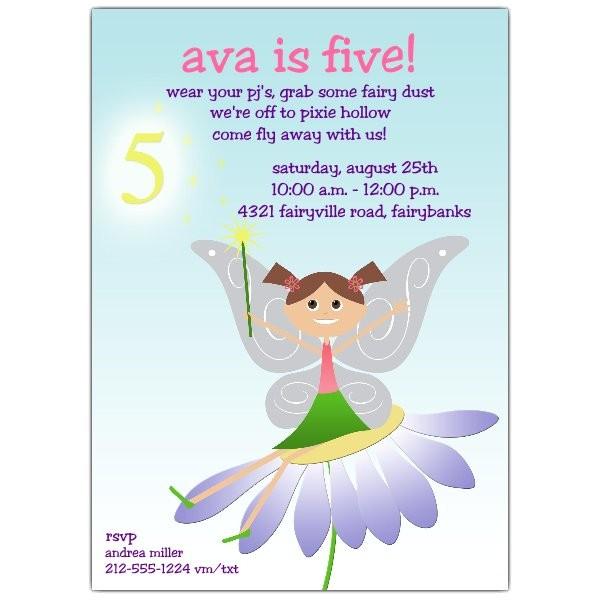 fairy fun brunette 5th birthday invitations p 604 57 1021