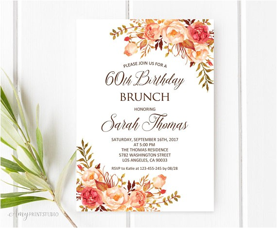birthday brunch invitation 60th birthday