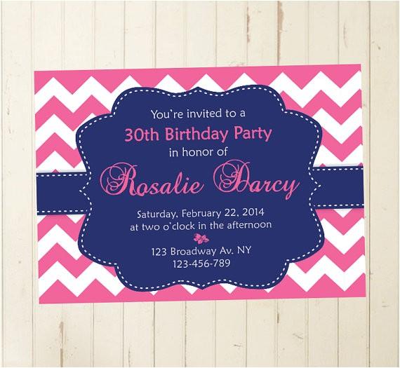 navy pink woman invitation brunch birthday