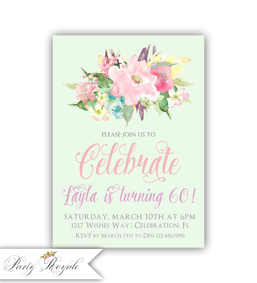 womens 60th birthday party invitations