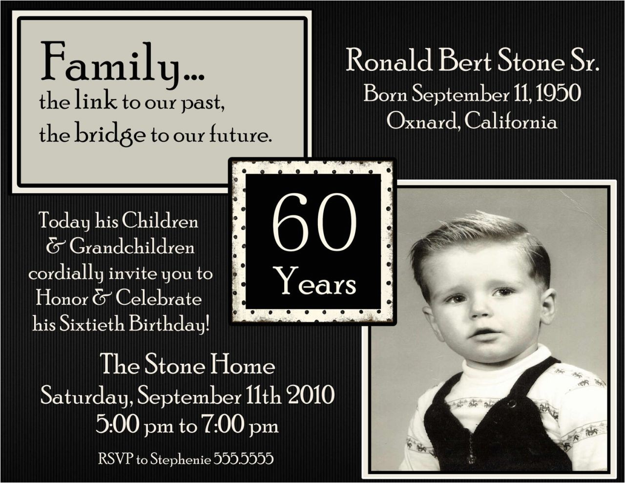 60th birthday party invitations wording