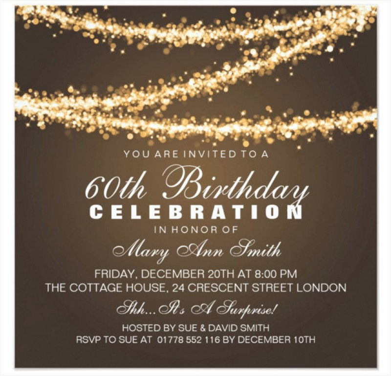 60th birthday invitation card template free