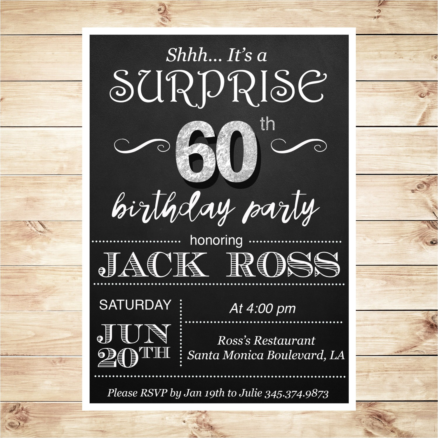 60th birthday surprise party invitations