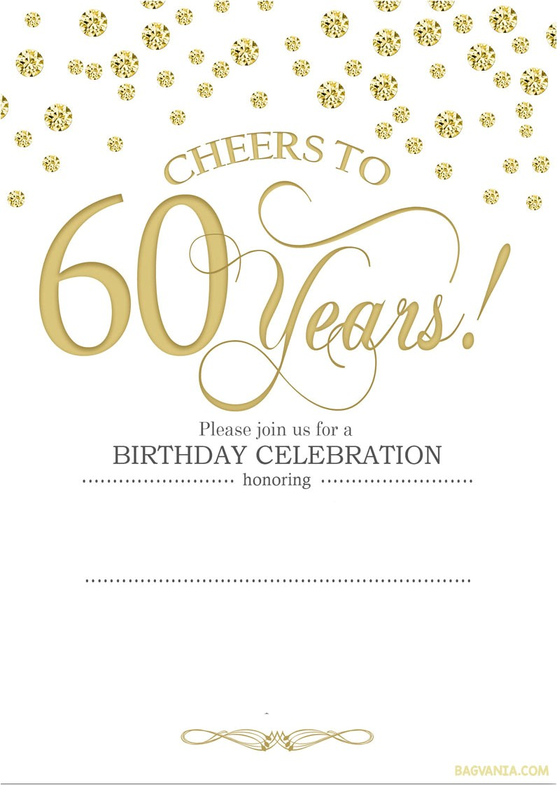 60th Birthday Invites Free Template Free Printable 60th Birthday Invitation Templates