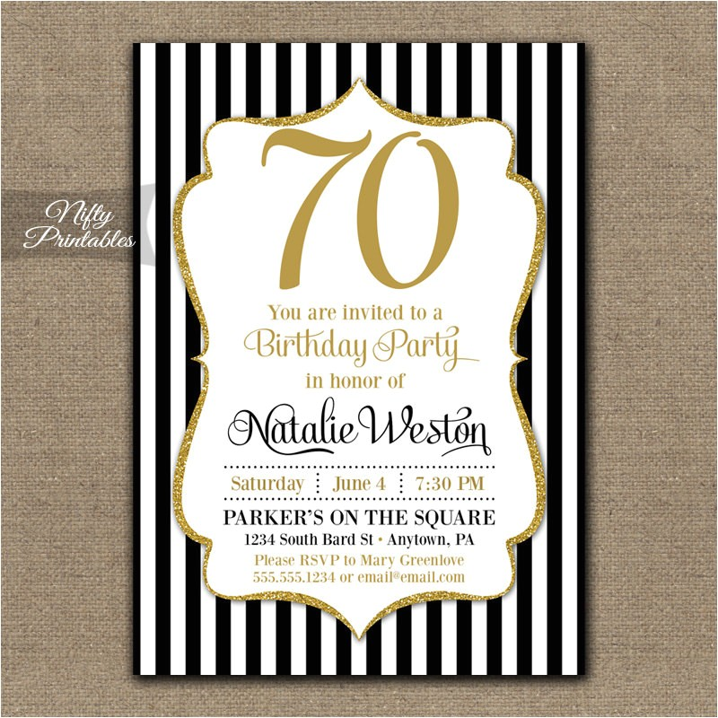 70th birthday invitations black gold