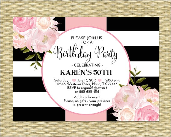 30th birthday invitation black white stripes