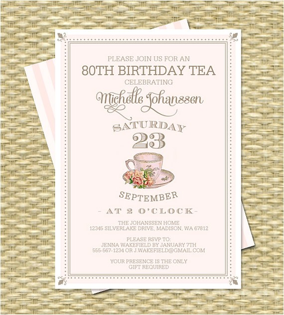 80th birthday tea party invitation adult