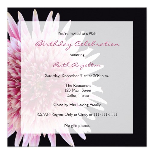 90th birthday party invitation gerbera daisy