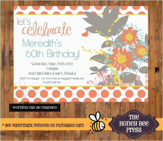 bright wildflower birthday invitation