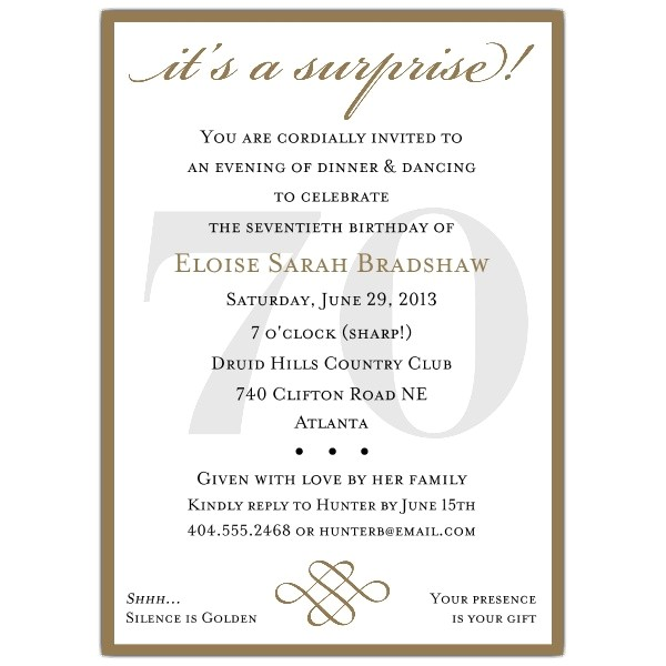 Classic 70th Birthday Gold Surprise Invitations p 607 57 70sg