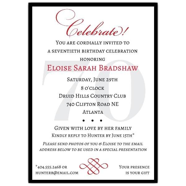 Classic 70th Birthday Celebrate Party Invitations p 607 57 70c