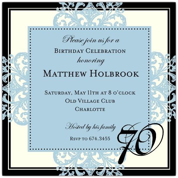 Decorative Square Border Blue 70th Birthday Invitations p 603 55 675 70