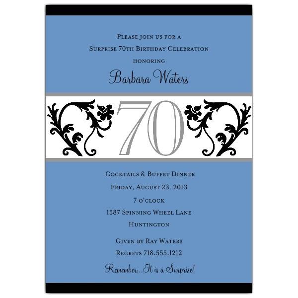 Elegant Vine Blue 70th Birthday Invitations p 604 57 EV70