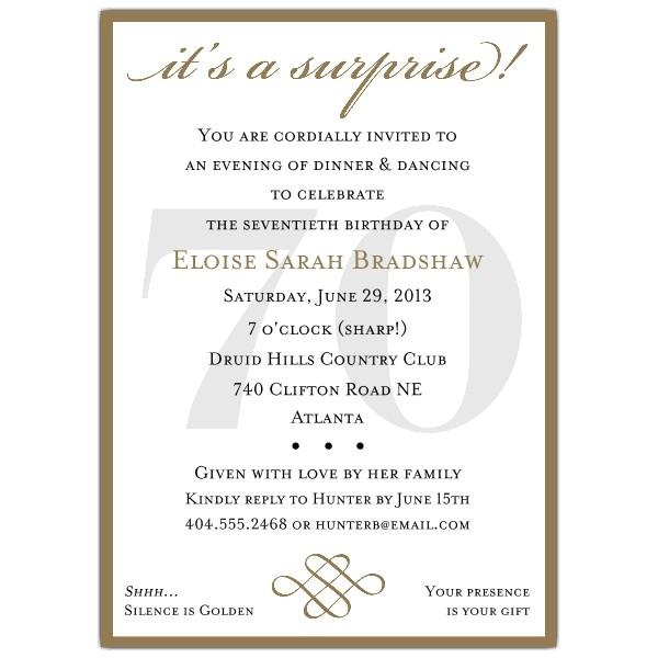 70th birthday party invitation wording