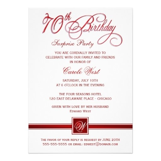 70th Birthday Invitation Wordings 70th Birthday Surprise Party Invitations Red