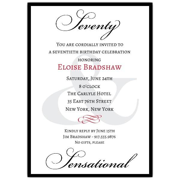 Classic 70th Birthday Milestone Invitations p 607 57 70