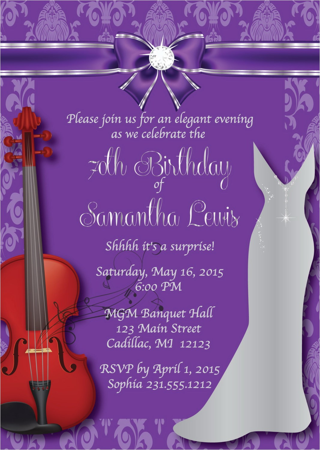 70th birthday invitation womens elegant