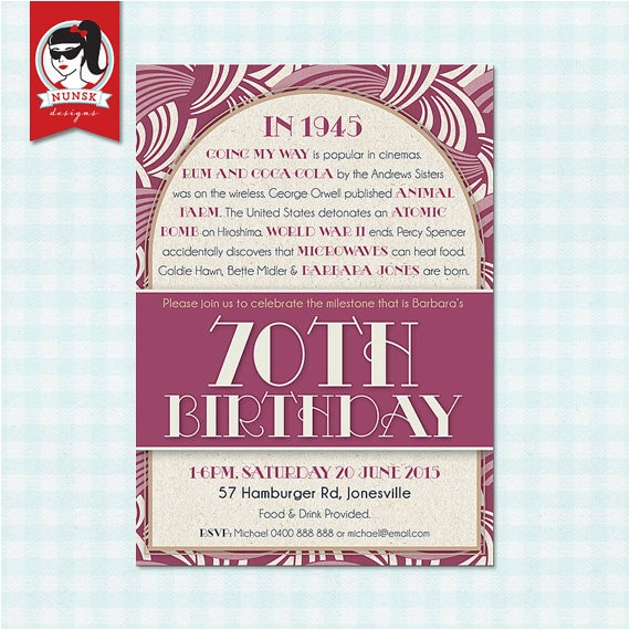 70th birthday party invitations 1945