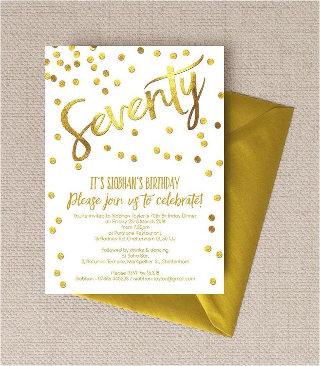 gold calligraphy confetti 70th birthday party invitation