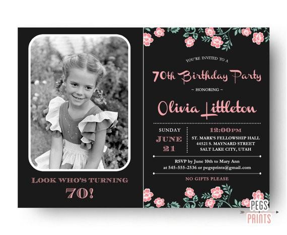 photo birthday invitation 70th birthday invitation