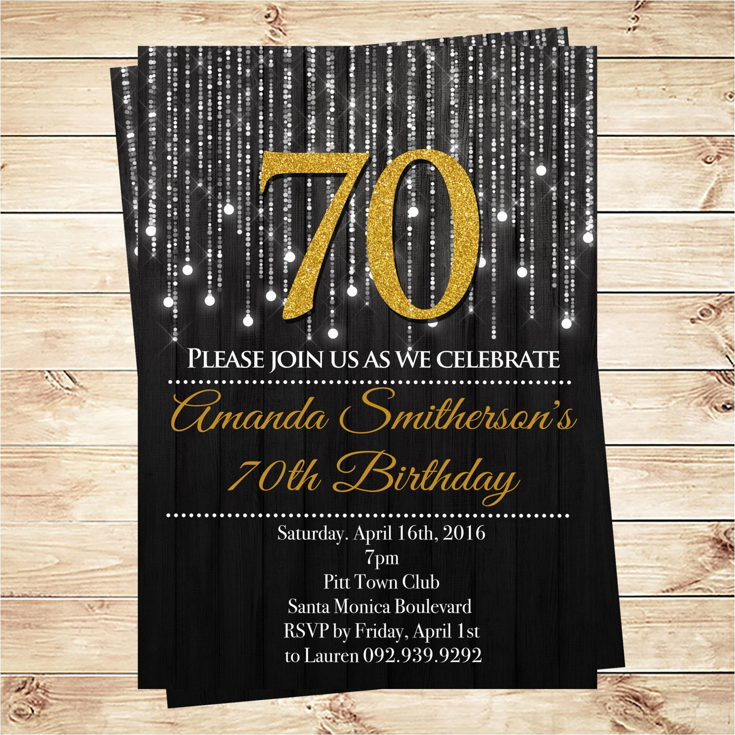 70th Birthday Invitations Free Download Black and Gold 70th Birthday Invitations by Diypartyinvitation
