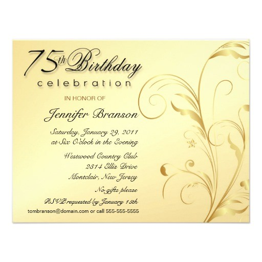 elegant 75th birthday surprise party invitations