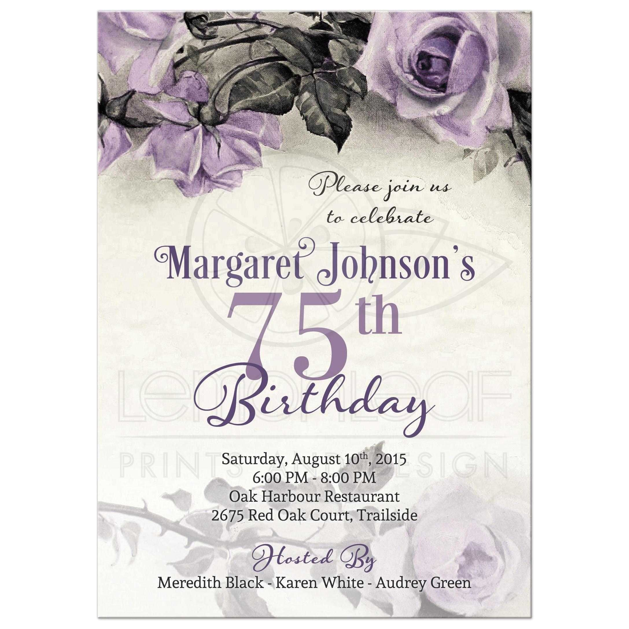 75th birthday invitations