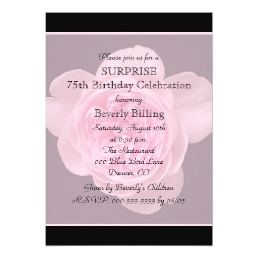 75th surprise birthday party invitation rose 161035480151670440