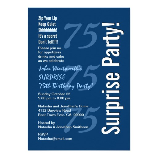surprise modern 75th birthday navy blue and white invitation 161513360102271131