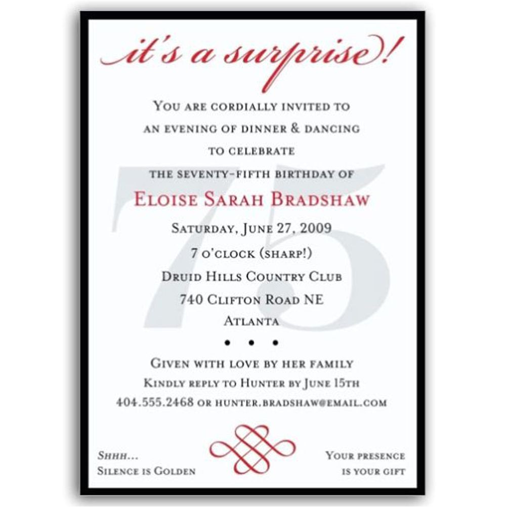 75th Surprise Birthday Party Invitation Wording 16 75th Birthday Invitations Unique Ideas