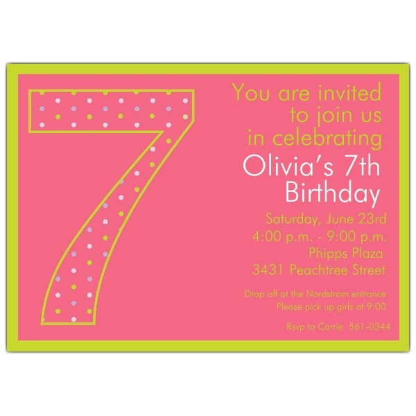 7th birthday girl dots invitations p 602 57 1040