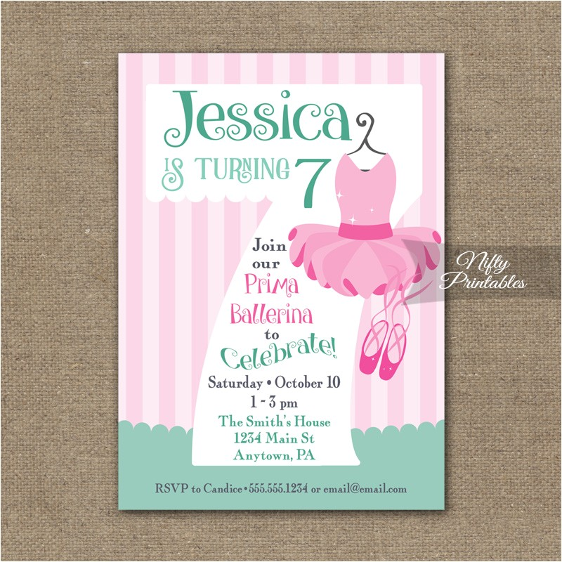 7th Birthday Invitation Card Printable 7th Birthday Invitation Ballet Tutu Invitation Nifty