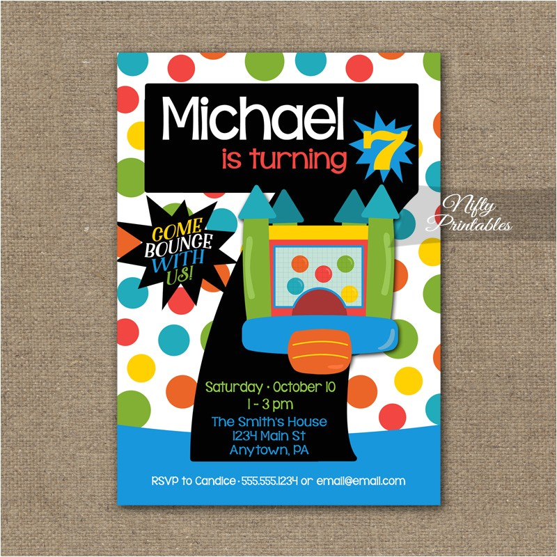 7th birthday invitation bounce house invitations
