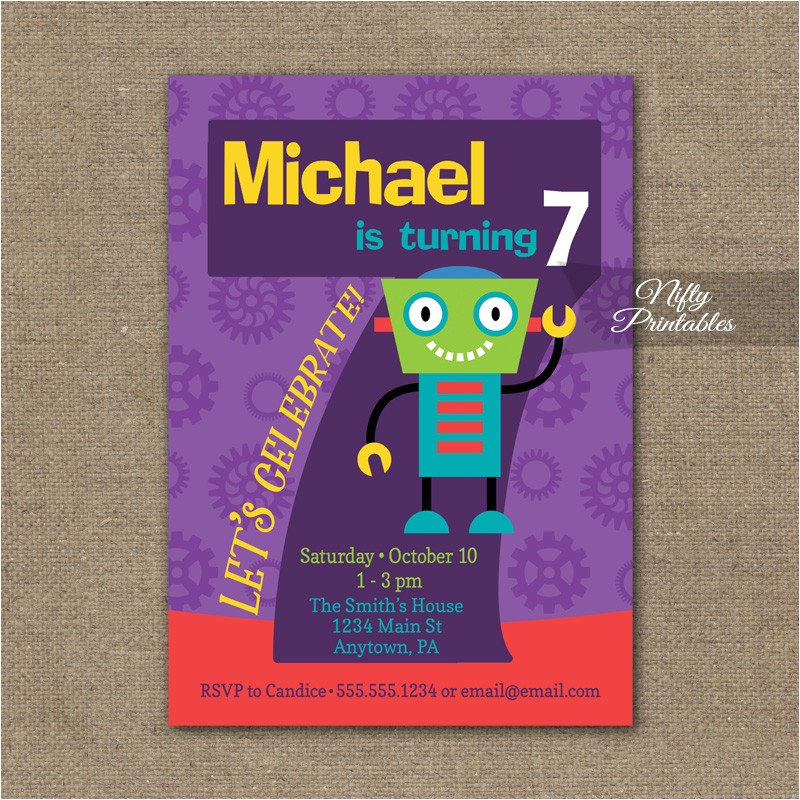 7th birthday invitation boys robot invitation
