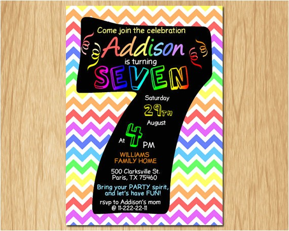 7th birthday invitation rainbow chevron pastel