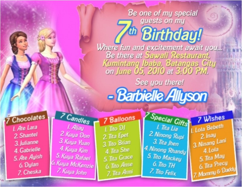 sample invitation card for 7th birthday girl