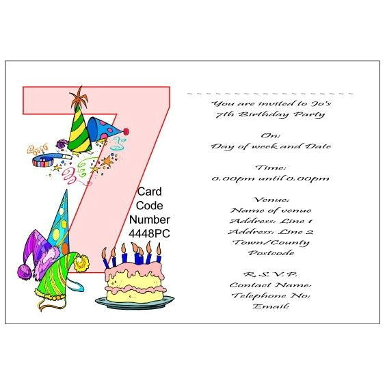 post 7th birthday party invitations 89325