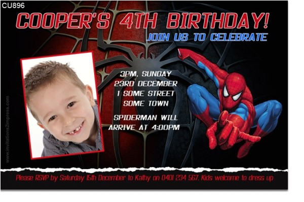 cu896 spiderman birthday invitation