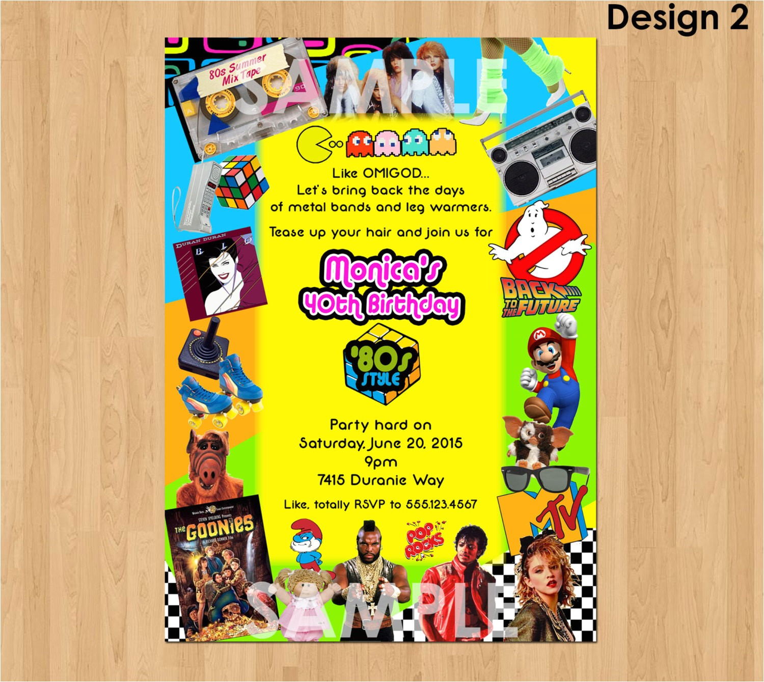 80s birthday invitation 80s party