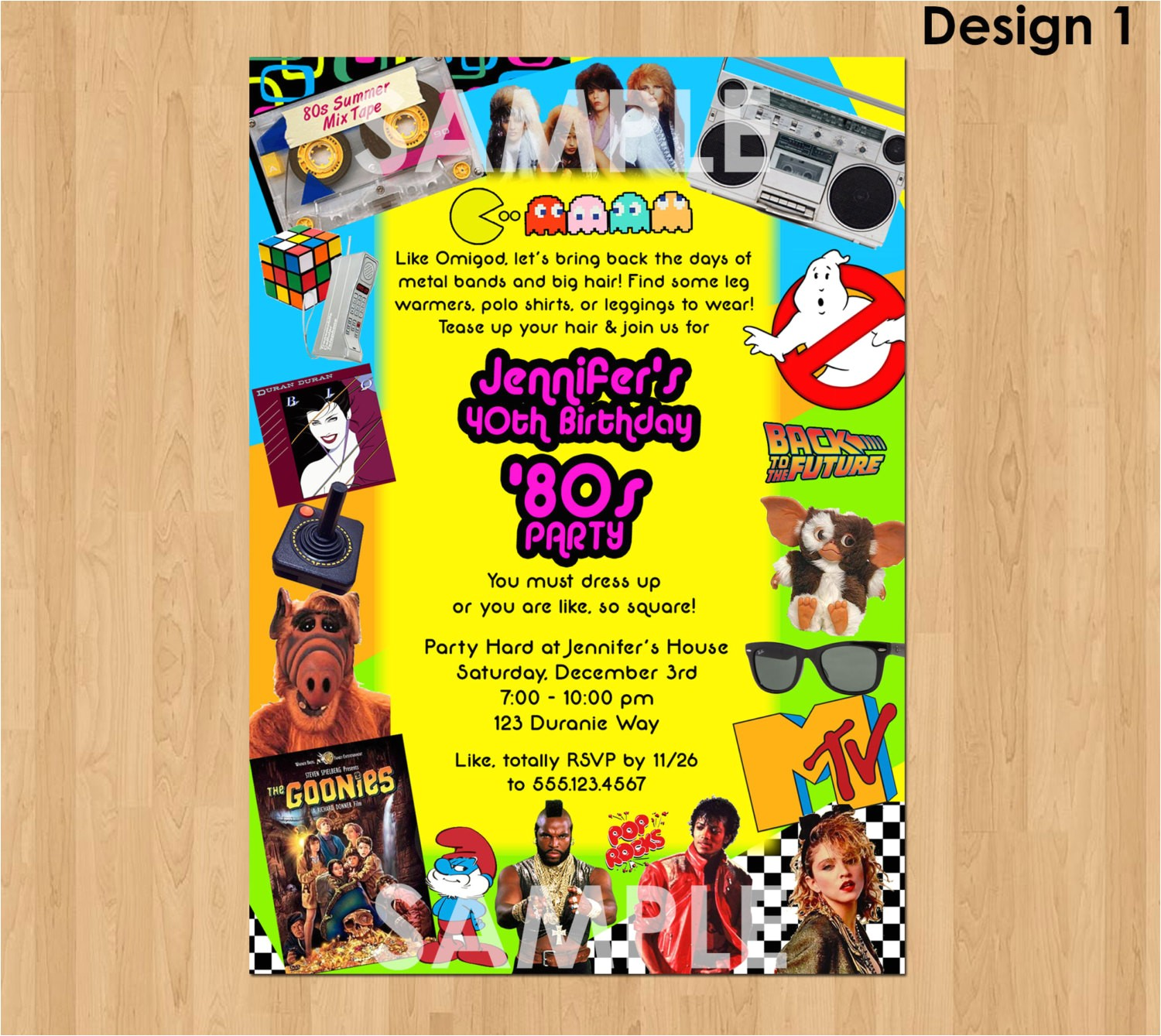 80s themed 40th Birthday Party Invitations 80s Party Invitation 80s Birthday Invitation Printable 40th