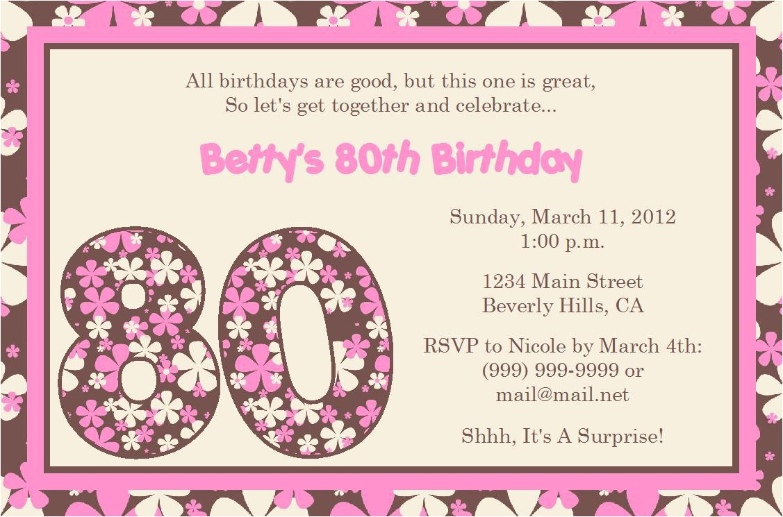 15 sample 80th birthday invitations templates ideas free sample