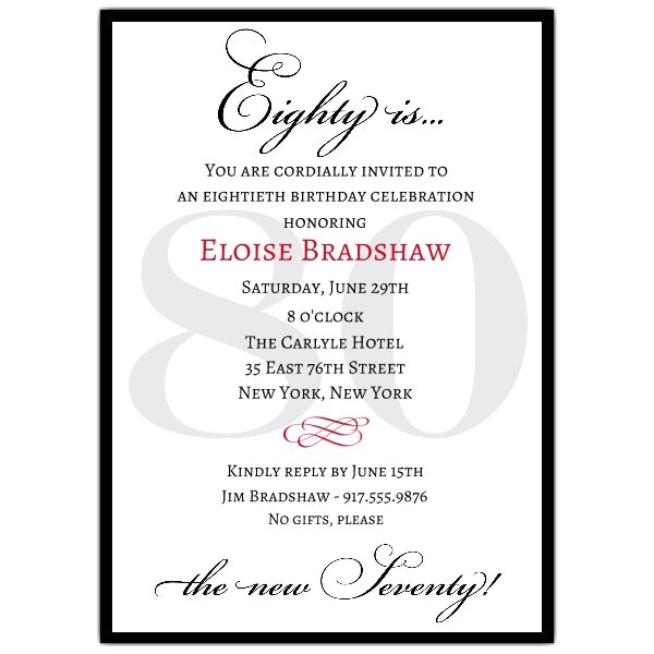 classic 80th birthday milestone invitations p 607 57 80