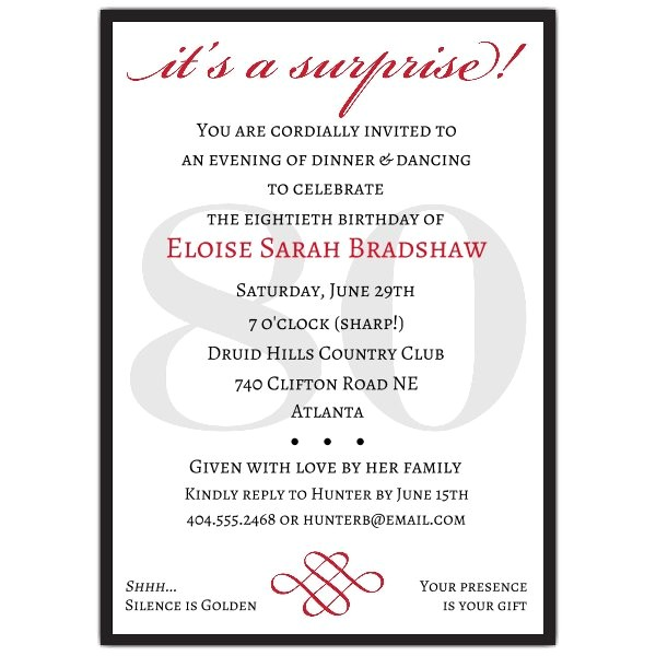 classic 80th birthday red surprise invitations p 607 57 80s