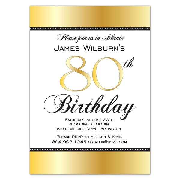 golden celebration 80th birthday invitations p 634 57 gol001