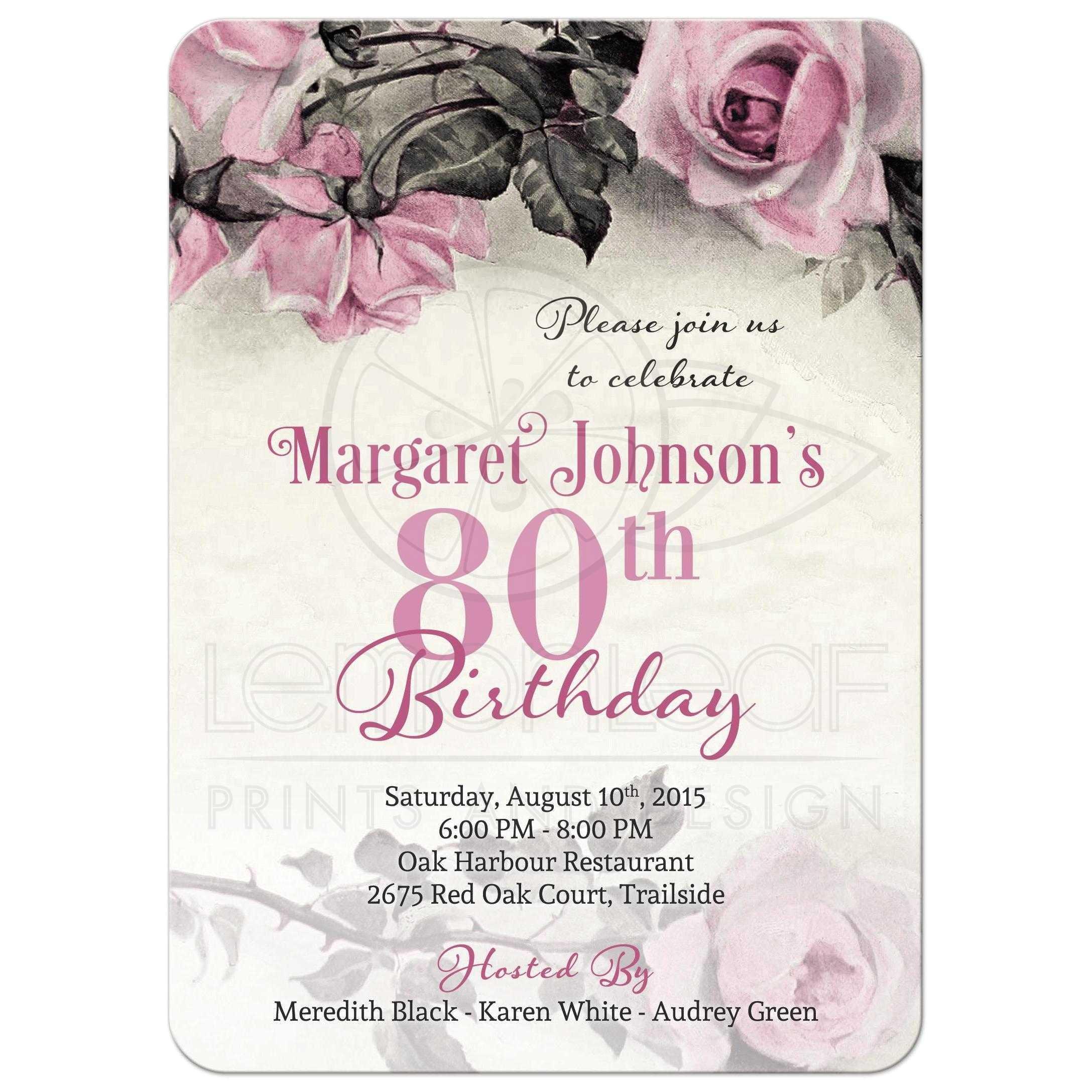 80th birthday party invitations