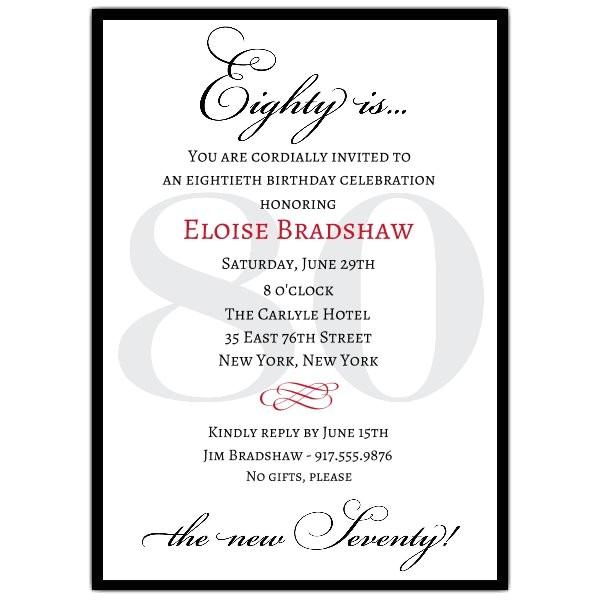 classic 80th birthday milestone invitations p 607 57 80