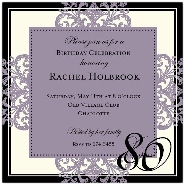 decorative square border eggplant 80th birthday invitations p 603 55 672 80