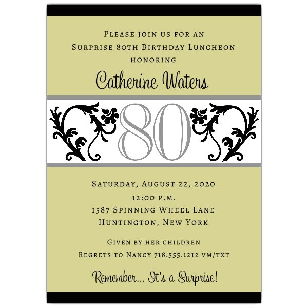elegant vine chartreuse 80th birthday invitations p 604 57 evc80