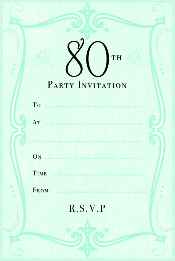 sample 80th birthday invitation